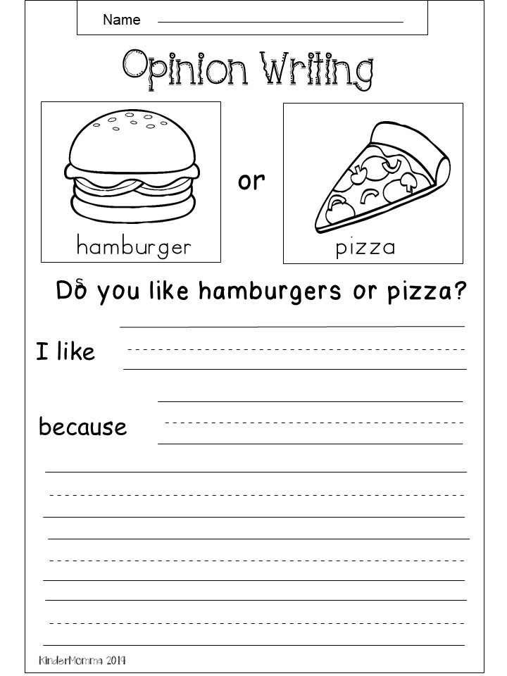 Free Opinion Writing Worksheet - Kindermomma.com