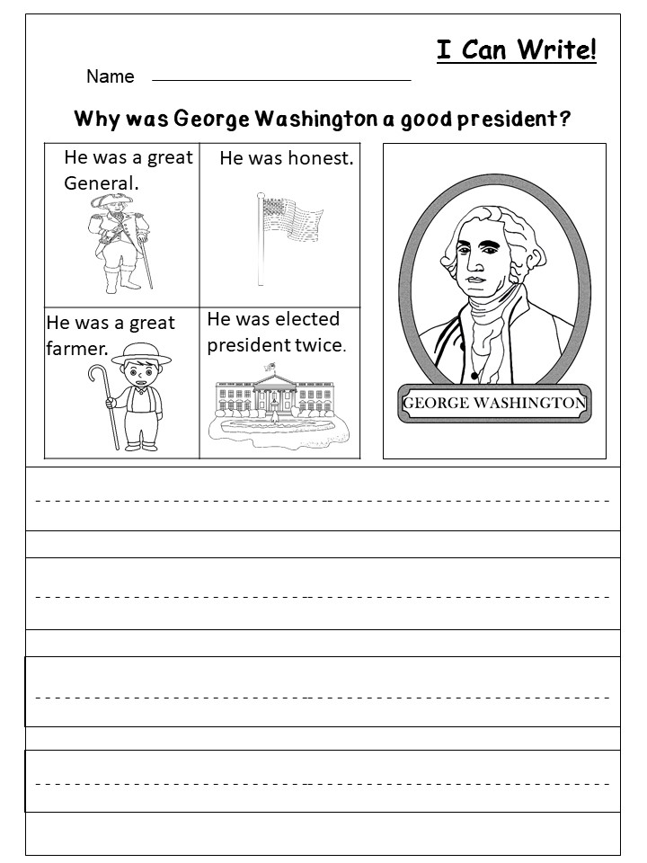 Free President's Day Writing Worksheet   kindermomma.com