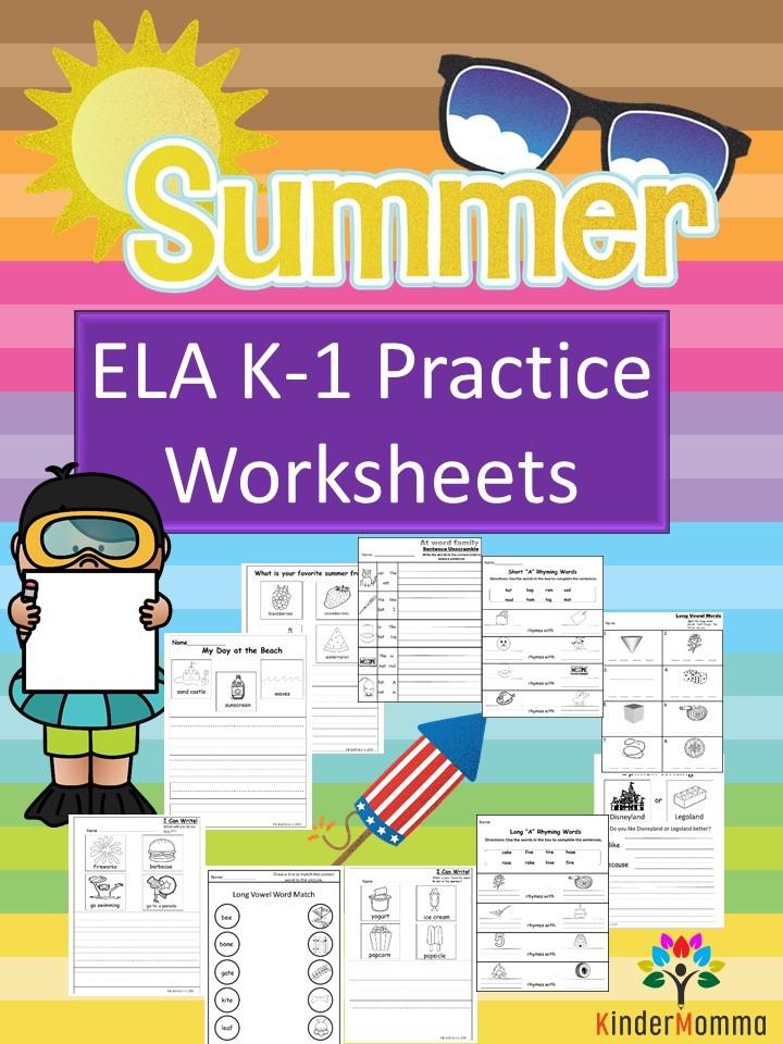 Kindergarten And First Grade Summer Worksheets - Kindermomma.com