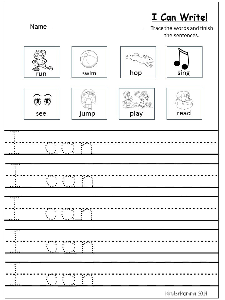 Free Writing Printable (Kindergarten And First Grade) - Kindermomma.com