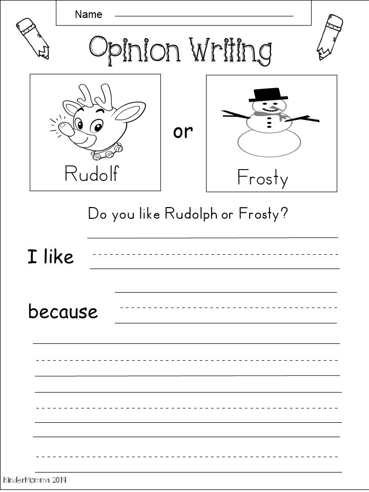 Free Kindergarten Christmas Writing Worksheet - Kindermomma.com